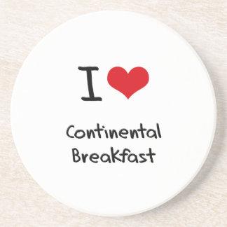 Amo el desayuno continental posavasos cerveza