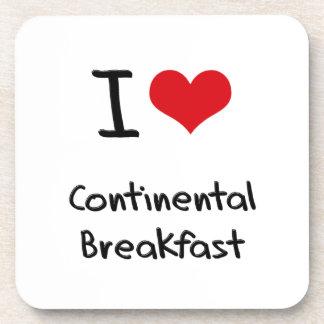 Amo el desayuno continental posavasos de bebidas