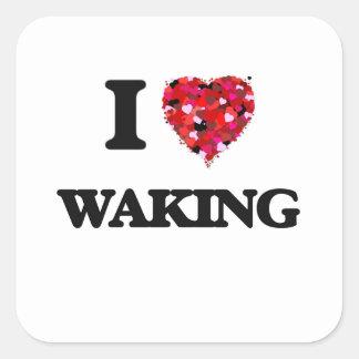 Amo el despertar pegatina cuadrada
