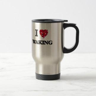 Amo el despertar taza de viaje de acero inoxidable