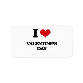 Amo el día de San Valentín Etiqueta De Dirección