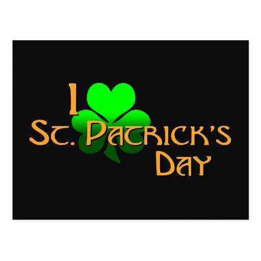 Amo el día de St Patrick Postales