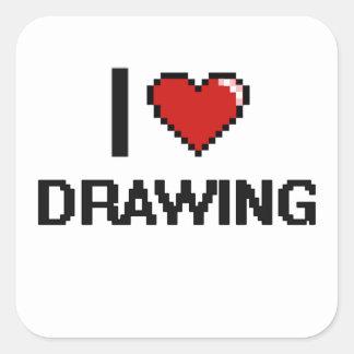 Amo el dibujar del diseño retro de Digitaces Pegatina Cuadrada