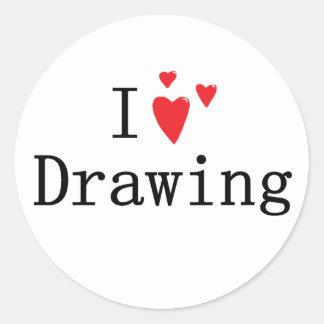 Amo el dibujar pegatina redonda