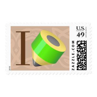 Amo el dibujar sello postal