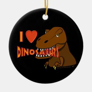 Amo el dibujo animado Tyrranosaurus Rex de los Adorno Navideño Redondo De Cerámica