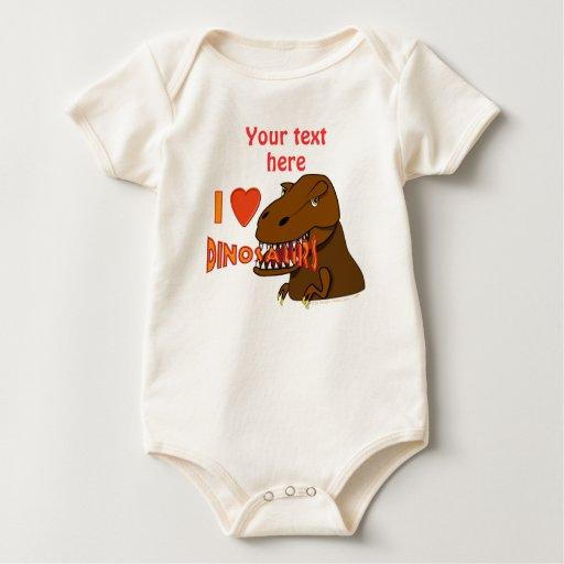 Amo el dibujo animado Tyrranosaurus Rex de los Body Para Bebé