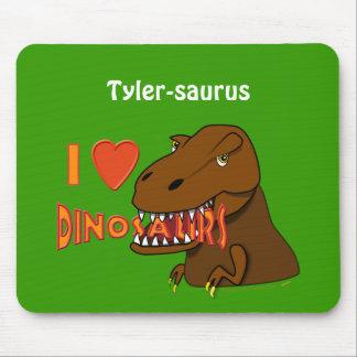 Amo el dibujo animado Tyrranosaurus Rex de los din Alfombrillas De Ratones