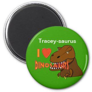 Amo el dibujo animado Tyrranosaurus Rex de los din Imán Redondo 5 Cm