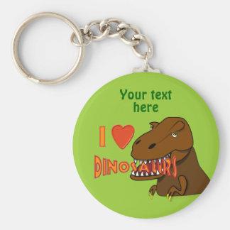 Amo el dibujo animado Tyrranosaurus Rex de los din Llavero Redondo Tipo Pin