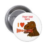 Amo el dibujo animado Tyrranosaurus Rex de los din Pins