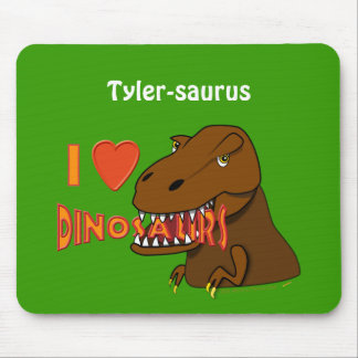 Amo el dibujo animado Tyrranosaurus Rex de los din Tapete De Ratones