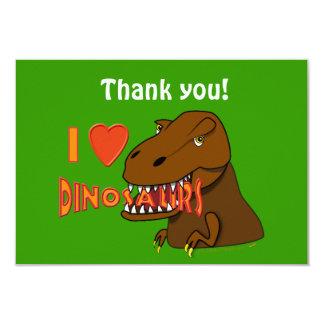 """Amo el dibujo animado Tyrranosaurus Rex de los Invitación 3.5"""" X 5"""""""