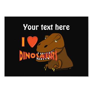 """Amo el dibujo animado Tyrranosaurus Rex de los Invitación 5"""" X 7"""""""