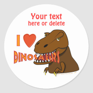 Amo el dibujo animado Tyrranosaurus Rex de los Pegatina Redonda
