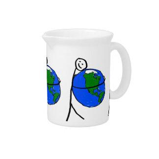 Amo el dibujo de mis niños de la tierra por amor c jarra de beber