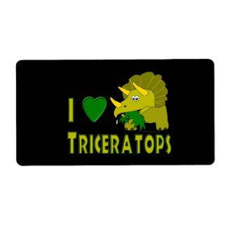Amo (el dinosaurio lindo del Triceratops del coraz Etiquetas De Envío
