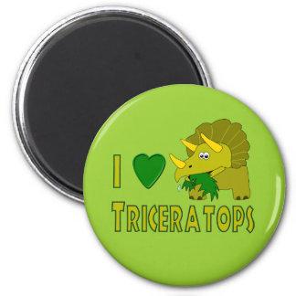 Amo (el dinosaurio lindo del Triceratops del coraz Imán De Nevera