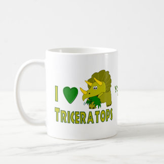 Amo (el dinosaurio lindo del Triceratops del coraz Tazas De Café