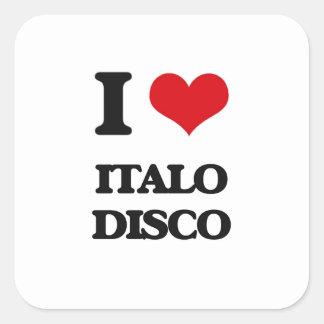 Amo el DISCO de ITALO Pegatina Cuadrada