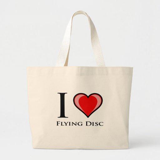 Amo el disco de vuelo bolsa de mano