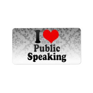 Amo el discurso público etiquetas de dirección
