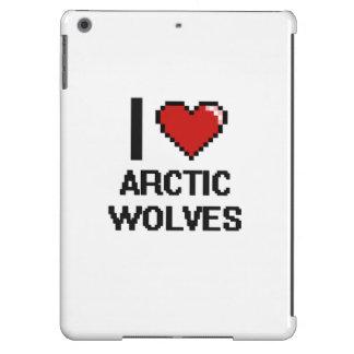 Amo el diseño ártico de Digitaces de los lobos Funda Para iPad Air