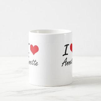Amo el diseño artístico de Annette Taza Básica Blanca