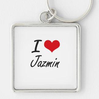 Amo el diseño artístico de Jazmin Llavero Cuadrado Plateado