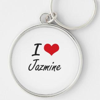 Amo el diseño artístico de Jazmine Llavero Redondo Plateado