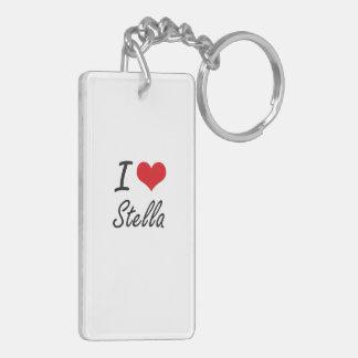 Amo el diseño artístico de Stella Llavero Rectangular Acrílico A Doble Cara