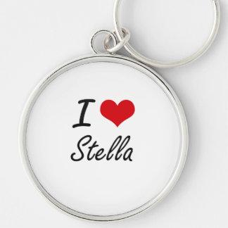 Amo el diseño artístico de Stella Llavero Redondo Plateado