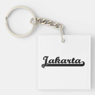 Amo el diseño clásico de Jakarta Indonesia Llavero Cuadrado Acrílico A Una Cara