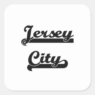 Amo el diseño clásico de Jersey City New Jersey Pegatina Cuadrada