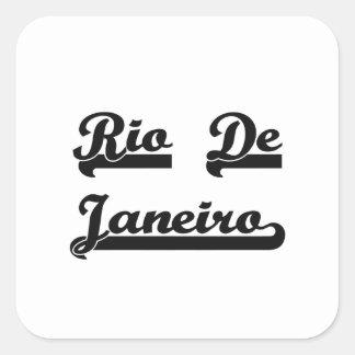 Amo el diseño clásico de Río de Janeiro el Brasil Pegatina Cuadrada