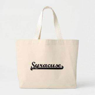 Amo el diseño clásico de Syracuse Nueva York Bolsa Tela Grande