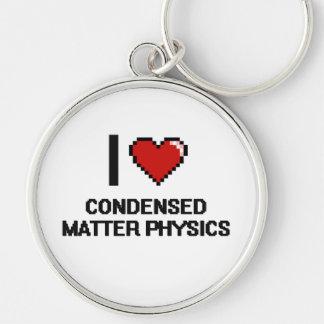 Amo el diseño condensado de Digitaces de la física Llavero Redondo Plateado