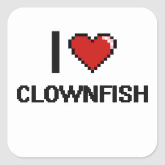 Amo el diseño de Clownfish Digital Pegatina Cuadrada