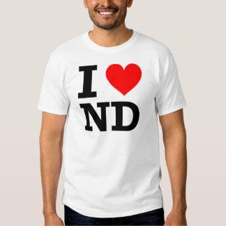 Amo el diseño de Dakota del Norte Playera