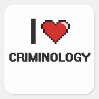 Amo el diseño de Digitaces de la criminología Pegatina Cuadrada