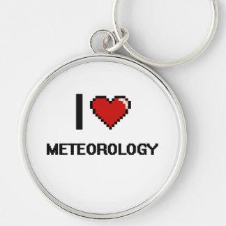 Amo el diseño de Digitaces de la meteorología Llavero Redondo Plateado