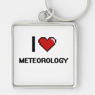 Amo el diseño de Digitaces de la meteorología Llavero Cuadrado Plateado