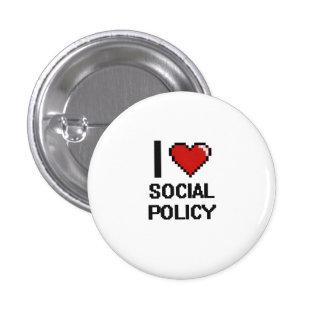 Amo el diseño de Digitaces de la política social Pin Redondo De 1 Pulgada