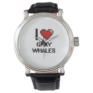 Amo el diseño de Digitaces de las ballenas grises Reloj