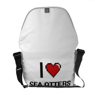 Amo el diseño de Digitaces de las nutrias de mar Bolsas De Mensajeria
