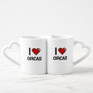 Amo el diseño de Digitaces de las orcas Tazas Para Enamorados