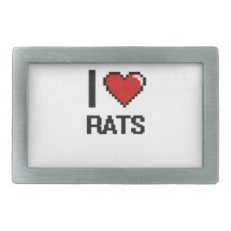 Amo el diseño de Digitaces de las ratas Hebilla De Cinturón Rectangular