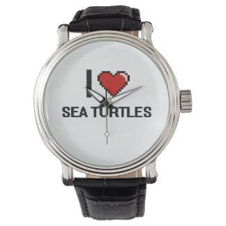 Amo el diseño de Digitaces de las tortugas de mar Relojes De Mano