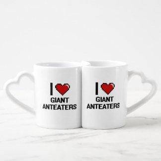 Amo el diseño de Digitaces de los Anteaters Set De Tazas De Café