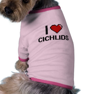 Amo el diseño de Digitaces de los Cichlids Camiseta Con Mangas Para Perro